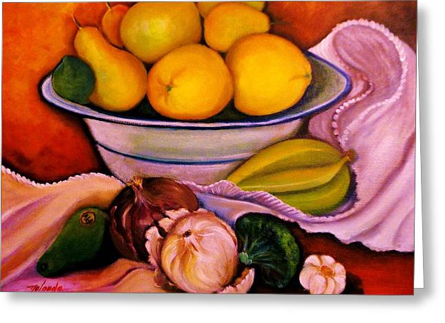 Yellow Fruits Greeting Card by Yolanda Rodriguez