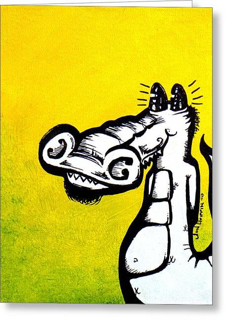 Yellow Gator Greeting Card by Jon Griffin