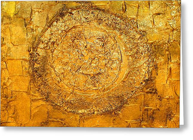 Yellow Gold Mixed Media Triptych Part 1 Greeting Card