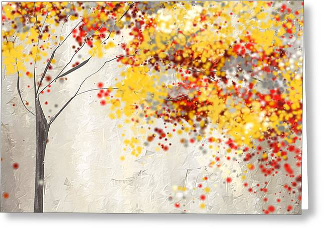 Yellow Gray And Red Greeting Card by Lourry Legarde
