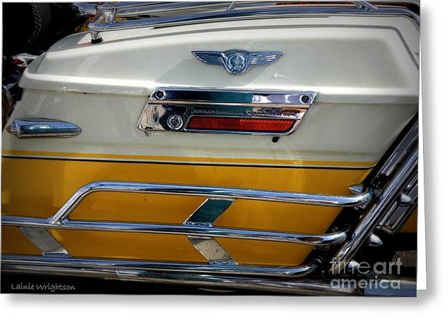 Yellow Harley Saddlebags Greeting Card by Lainie Wrightson