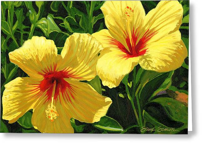 Yellow Hibiscus Greeting Card by Steve Simon