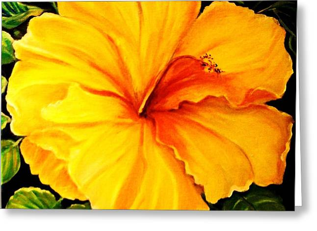 Yellow Hibiscus Greeting Card by Yolanda Rodriguez