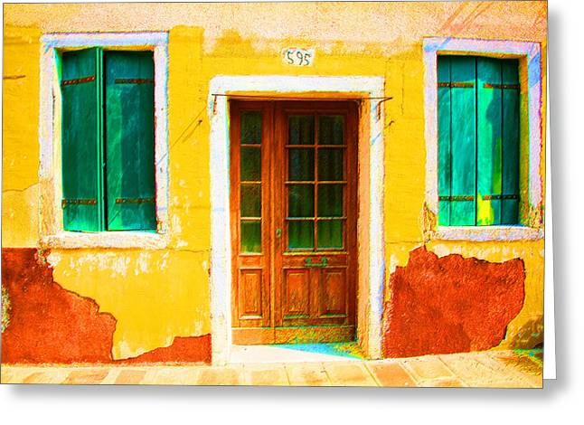 Yellow House Decayed Greeting Card by Donna Corless