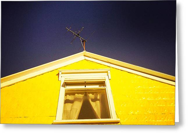 Yellow House In Akureyri Iceland Greeting Card