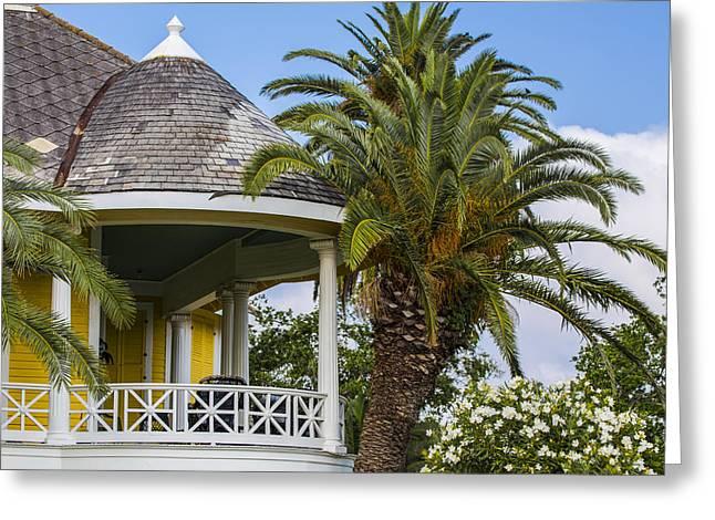 Yellow House In Galveston Tx  Greeting Card