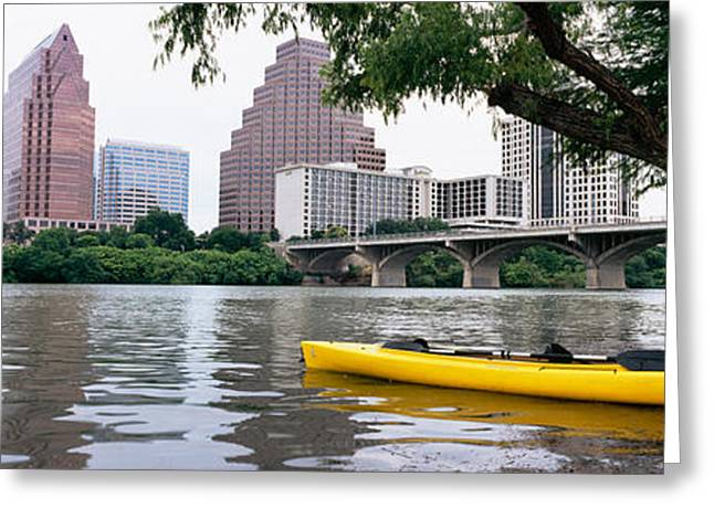 Yellow Kayak In A Reservoir, Lady Bird Greeting Card by Panoramic Images
