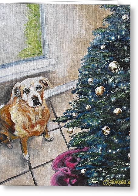 Yellow Lab Christmas Greeting Card by Melissa Torres