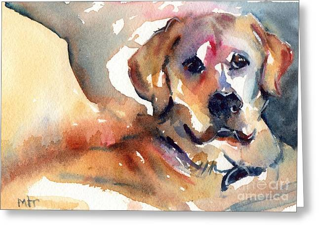 Yellow Lab Greeting Card by Maria's Watercolor