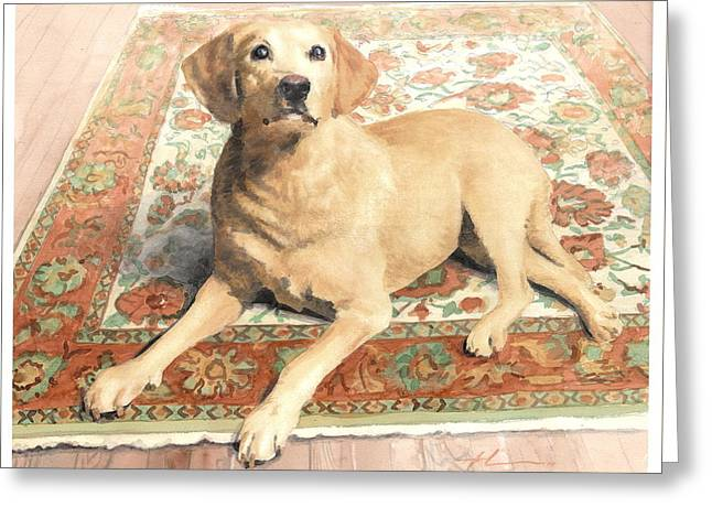 Yellow Lab On A Rug Watercolor Portrait Greeting Card by Mike Theuer