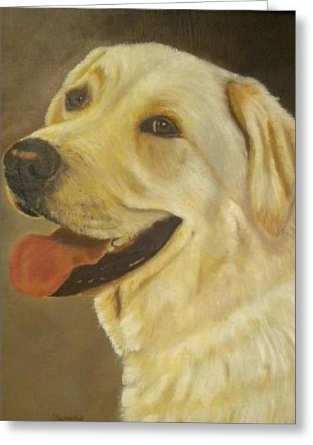 Greeting Card featuring the painting Yellow Lab by Sharon Schultz