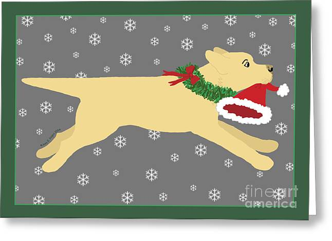 Yellow Labrador Dog Steals Santa's Hat Greeting Card