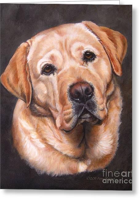 Yellow Labrador Portrait - Dark Yellow Dog Greeting Card
