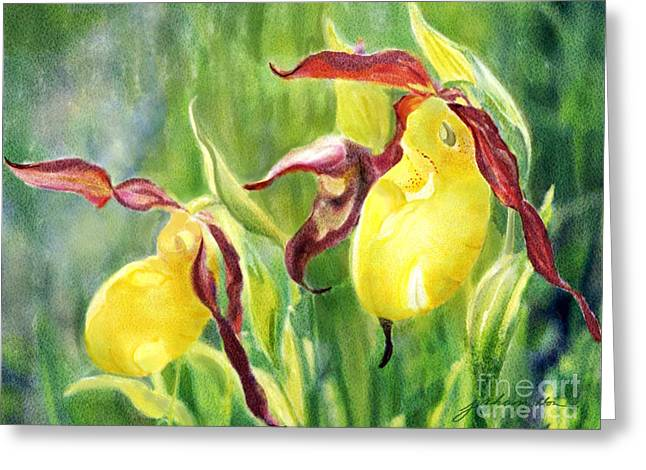 Yellow Lady Slippers Greeting Card by Joan A Hamilton