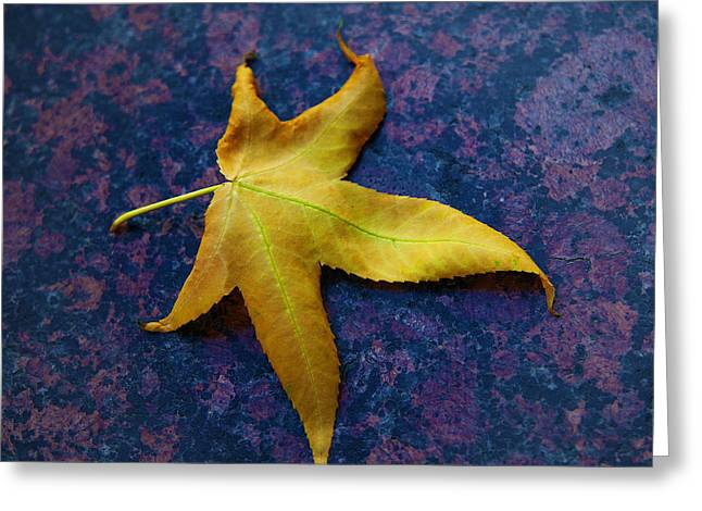Yellow Leaf On Marble Greeting Card