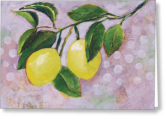 Yellow Lemons On Purple Orchid Greeting Card by Jen Norton