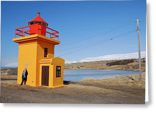Yellow Lighthouse Greeting Card by Erlendur Gudmundsson
