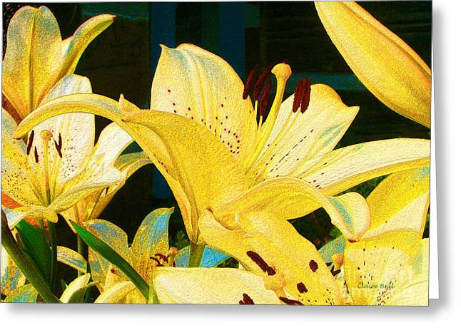 Yellow Lilies Greeting Card by Claire Bull
