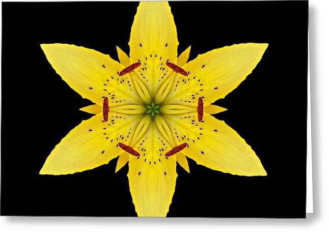 Yellow Lily I Flower Mandala Greeting Card