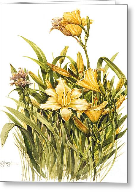 Greeting Card featuring the painting Yellow Lily by Bob  George