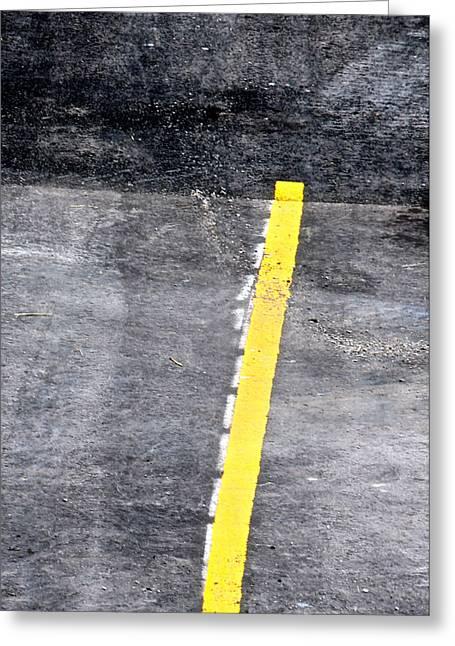Yellow Line Greeting Card by John Illingworth