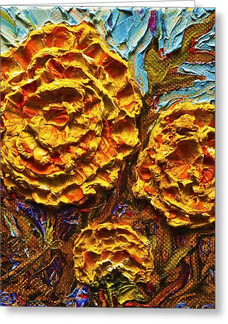 Yellow Marigolds Greeting Card by Paris Wyatt Llanso