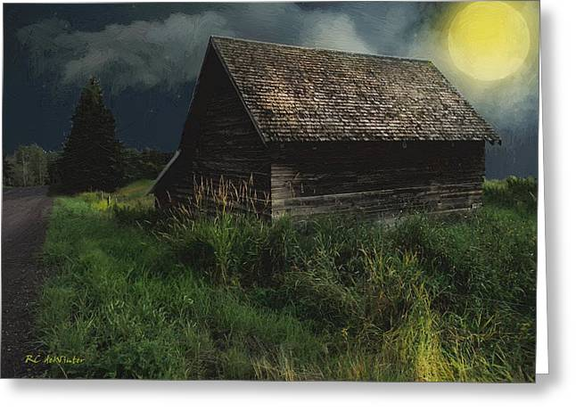 Yellow Moon On The Rise Greeting Card