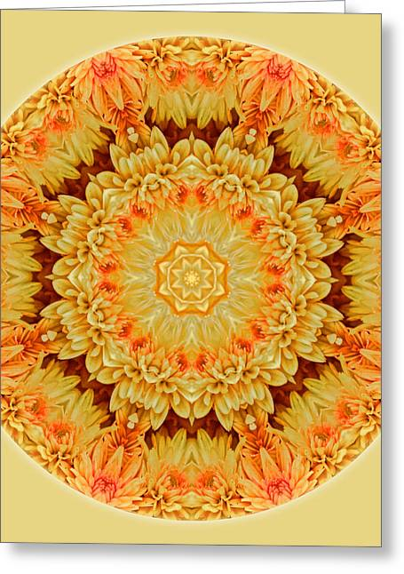 Yellow Orange Mum Mandala Greeting Card