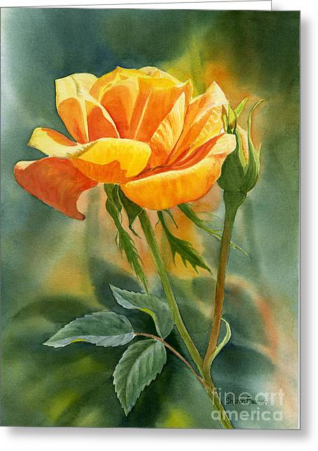 Yellow Orange Rose With Background Greeting Card