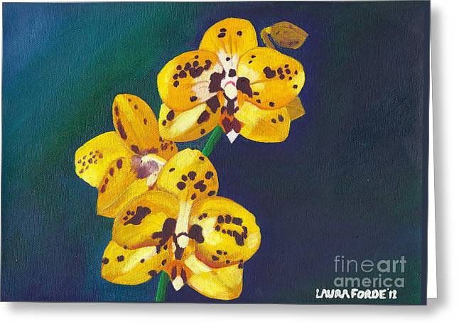 Greeting Card featuring the painting Yellow Orchids by Laura Forde
