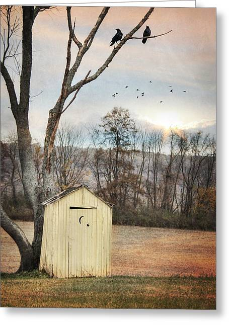 Yellow Outhouse Greeting Card by Lori Deiter