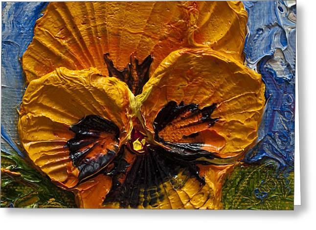Yellow Pansy Greeting Card by Paris Wyatt Llanso