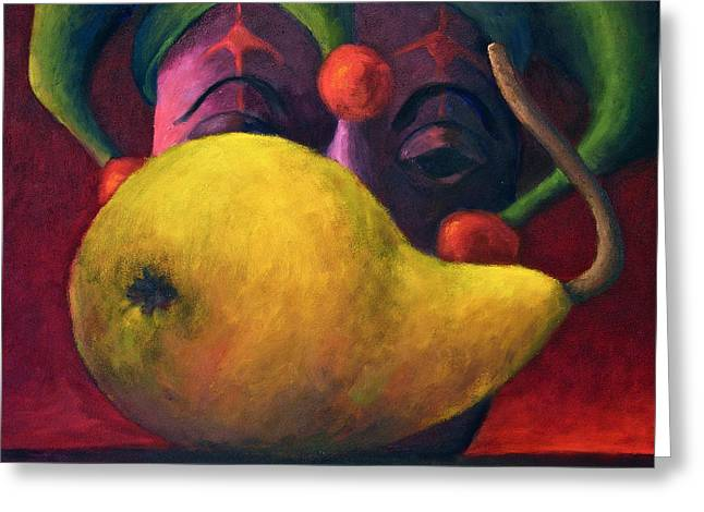 Yellow Pear And Jester Greeting Card by Marie-louise McHugh