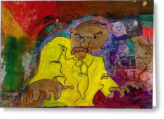Greeting Card featuring the mixed media Yellow Piano Man by Catherine Redmayne