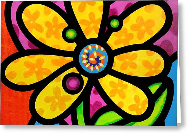 Yellow Pinwheel Daisy Greeting Card