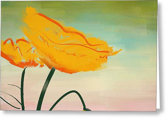 Yellow Poppies Greeting Card by Lourry Legarde