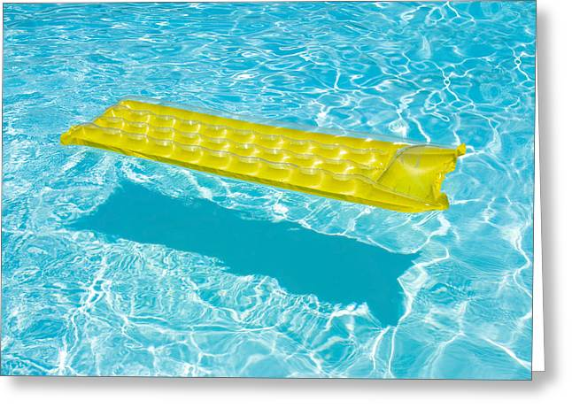 Yellow Raft Floating In A Pool Greeting Card