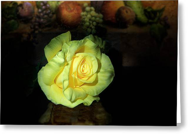 Yellow Rose Greeting Card by Cecil Fuselier