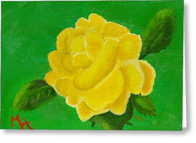 Greeting Card featuring the painting Yellow Rose Of Beta Sigma Phi by Margaret Harmon
