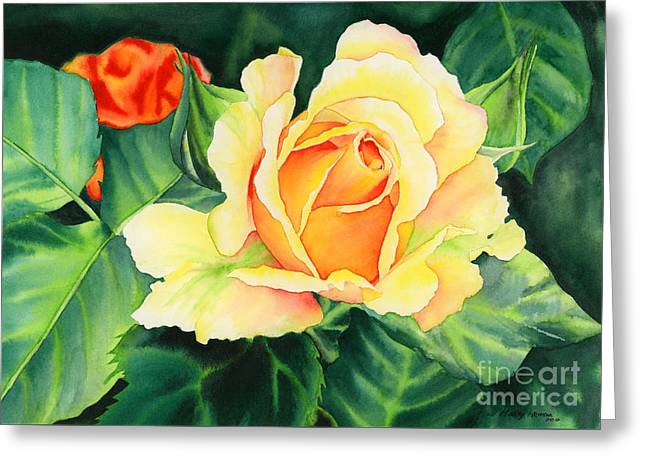 Yellow Roses Greeting Card by Hailey E Herrera
