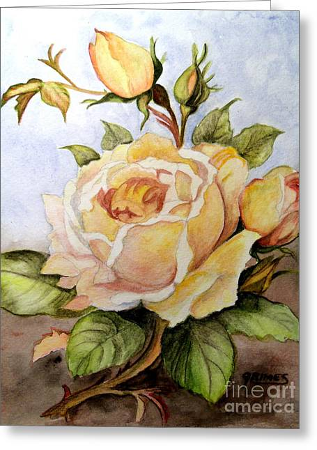Yellow Roses In The Garden Greeting Card by Carol Grimes