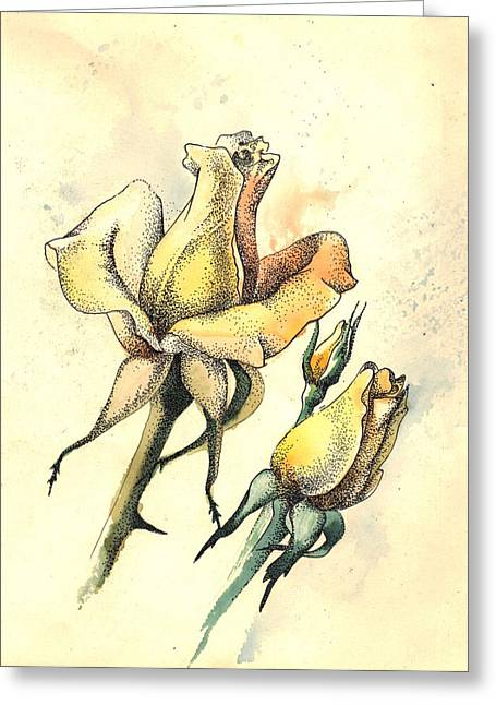 Yellow Roses In Watercolor And Stippling Greeting Card