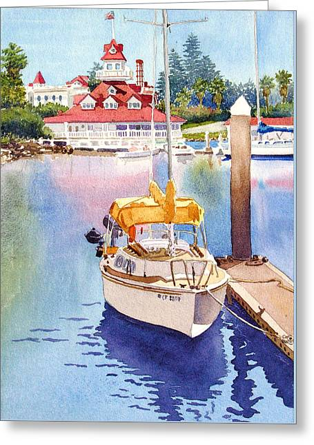 Yellow Sailboat And Coronado Boathouse Greeting Card