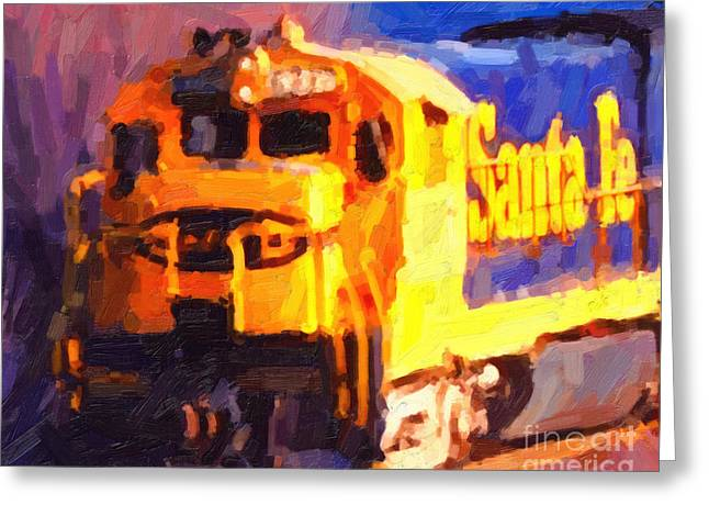 Yellow Sante Fe Locomotive Greeting Card by Wingsdomain Art and Photography