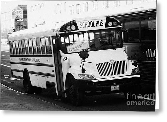 Yellow School Bus Parked By The Side Of The Road New York City Greeting Card