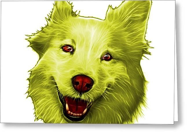 Yellow Siberian Husky Mix Dog Pop Art - 5060 Wb Greeting Card by James Ahn