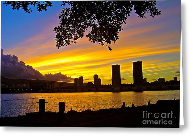 Yellow Skies Over Honolulu - No.2004 Greeting Card