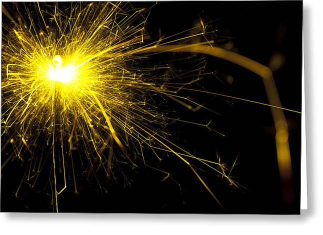 Yellow Sparkle Greeting Card by Samuel Whitton