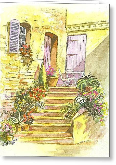 Greeting Card featuring the painting Yellow Steps by Carol Wisniewski