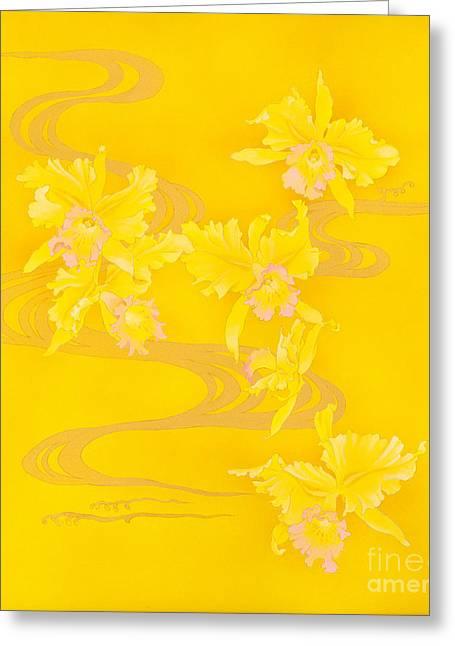 Yellow Stream Greeting Card by Haruyo Morita